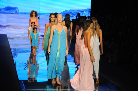 MIAMI BEACH, FL - JULY 15: Models walk the runway finale for Pitusa during the Paraiso Fasion Fair at The Paraiso Tent on July 15, 2018 in Miami Beach, Florida. Editorial