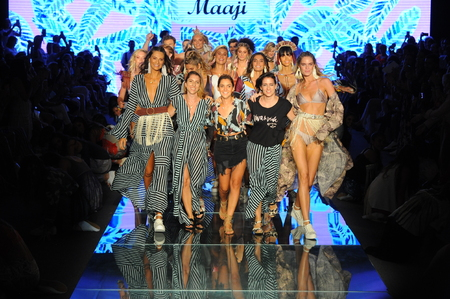 MIAMI BEACH, FL - JULY 15: Designers Juliana Londono, Andrea Gomez, and Nani Valenzuela the runway for Maaji during the Paraiso Fasion Fair at The Paraiso Tent on July 15, 2018 in Miami Beach, Florida. Publikacyjne