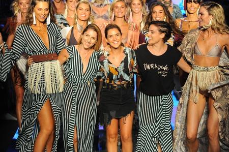 MIAMI BEACH, FL - JULY 15: Designers Juliana Londono, Andrea Gomez, and Nani Valenzuela the runway for Maaji during the Paraiso Fasion Fair at The Paraiso Tent on July 15, 2018 in Miami Beach, Florida. Editorial