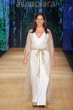 MIAMI BEACH, FL - JULY 13: Designer Liliana Villalobos walks the runway for Aguaclara during the Paraiso Fashion Fair at The Paraiso Tent on July 13, 2018 in Miami Beach, Florida.