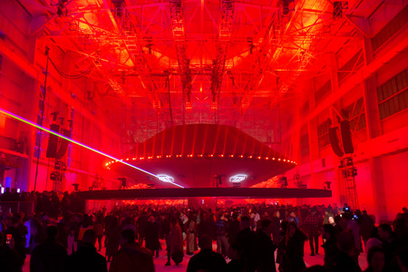 NEW YORK, NY - FEBRUARY 10: A view of the runway and space ship with lasers at the Philipp Plein fashion show during New York Fashion Week: The Shows on February 10, 2018 in NYC.