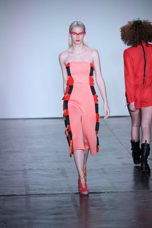 NEW YORK, NY - FEBRUARY 09: A model walks the runway for Chromat during New York Fashion Week: The Shows at Industria Studios on February 9, 2018 in New York City. Editorial