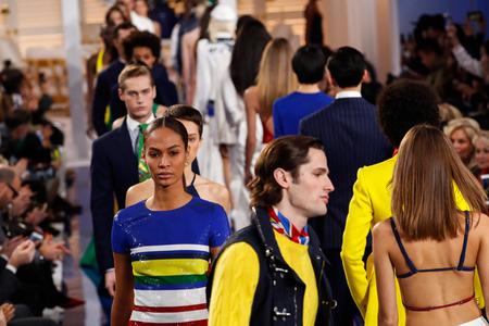 NEW YORK, NY - FEBRUARY 12: Joan Smalls walks the runway finale at Ralph Lauren SpringSummer 18 fashion show during the New York Fashion Week on February 12, 2018 in New York City.