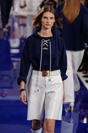 NEW YORK, NY - FEBRUARY 12: A model walks the runway at Ralph Lauren SpringSummer 18 fashion show during the New York Fashion Week on February 12, 2018 in New York City.