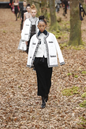 PARIS, FRANCE - MARCH 06: A model walks the runway during the Chanel show as part of the Paris Fashion Week Womenswear FallWinter 20182019 on March 6, 2018 in Paris, France.