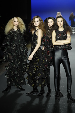 PARIS, FRANCE - MARCH 03: Models walk the runway during the Sonia Rykiel show as part of the Paris Fashion Week Womenswear FallWinter 20182019 on March 3, 2018 in Paris, France.