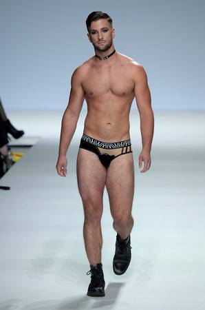 NEW YORK, NY - SEPTEMBER 07: Mark Ciccarelli walks the runway during Marco Marco - September 2017 - New York Fashion Week on September 7, 2017 in New York City Editorial