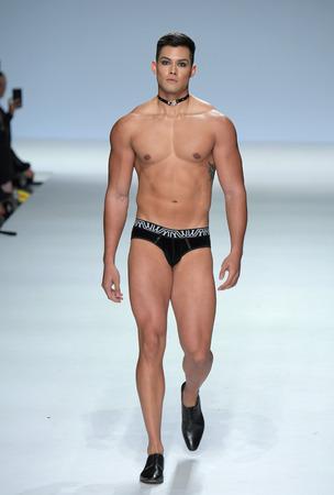 NEW YORK, NY - SEPTEMBER 07: Matt Ames walks the runway during Marco Marco - September 2017 - New York Fashion Week on September 7, 2017 in New York City Editorial