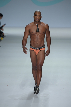NEW YORK, NY - SEPTEMBER 07: Keith Reliford walks the runway during Marco Marco - September 2017 - New York Fashion Week on September 7, 2017 in New York City