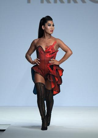 NEW YORK, NY - SEPTEMBER 07: Gia Gunn walks the runway during Marco Marco - September 2017 - New York Fashion Week on September 7, 2017 in New York City