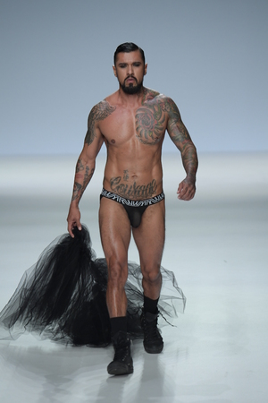 NEW YORK, NY - SEPTEMBER 07: Boomer Banks walks the runway during Marco Marco - September 2017 - New York Fashion Week on September 7, 2017 in New York City