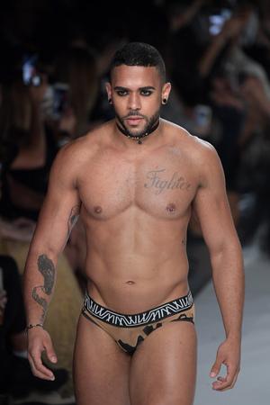 NEW YORK, NY - SEPTEMBER 07: Ivan Medina walks the runway during Marco Marco - September 2017 - New York Fashion Week on September 7, 2017 in New York City