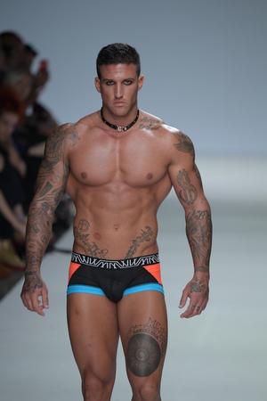 NEW YORK, NY - SEPTEMBER 07: Alejandro Valero walks the runway during Marco Marco - September 2017 - New York Fashion Week on September 7, 2017 in New York City Editorial