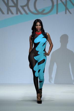 NEW YORK, NY - SEPTEMBER 07:  model Domi walks the runway during Marco Marco - September 2017 - New York Fashion Week on September 7, 2017 in New York City Editorial