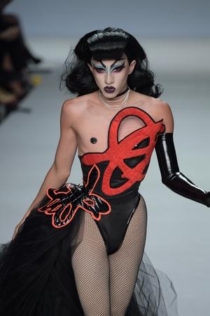 NEW YORK, NY - SEPTEMBER 07: Vander von Odd walks the runway during Marco Marco - September 2017 - New York Fashion Week on September 7, 2017 in New York City