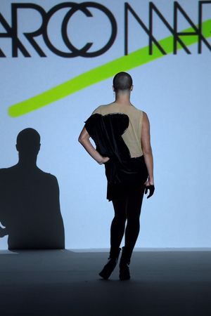 NEW YORK, NY - SEPTEMBER 07: Yanis Marshall walks the runway during Marco Marco - September 2017 - New York Fashion Week on September 7, 2017 in New York City Editorial