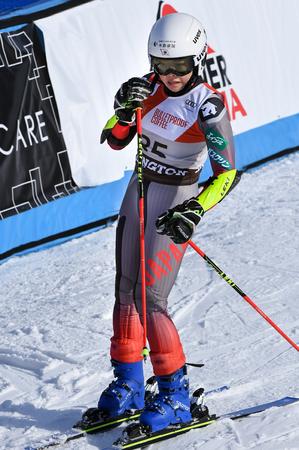 KILLINGTON, VT - NOVEMBER 24: Haruna Ishikawa of Japan in the finish area after the first run of the giant slalom at the Audi FIS Ski World Cup - Killington Cup on November 24, 2018 in Killington, Ver