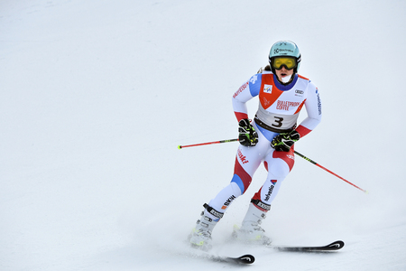 KILLINGTON, VT - NOVEMBER 24: Wendy Holderner of SUI reacts in the finish area after the second run of the giant slalom at the Audi FIS Ski World Cup - Killington Cup on November 24, 2018 in Killington, Vermont. Editorial