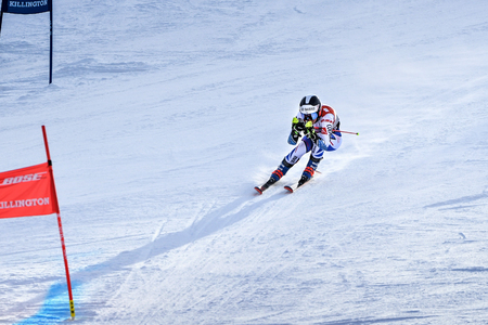 KILLINGTON, VT - NOVEMBER 24: Clara Direz of France in the finish area after the second run of the giant slalom at the Audi FIS Ski World Cup - Killington Cup on November 24, 2018 in Killington, Vermont. Editorial