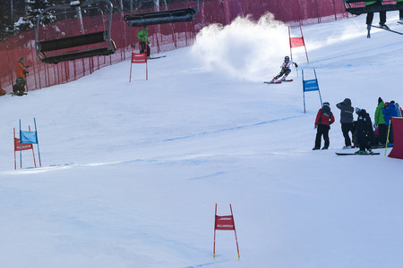 KILLINGTON, VT - NOVEMBER 24: Patricia Mangan of USA in the finish area after the second run of the giant slalom at the Audi FIS Ski World Cup - Killington Cup on November 24, 2018 in Killington, Vermont.
