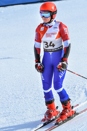 KILLINGTON, VT - NOVEMBER 24: Adriana Jelinkova of Nederlands  in the finish area after the first run of the giant slalom at the Audi FIS Ski World Cup - Killington Cup on November 24, 2018 in Killington, Vermont.