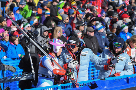 KILLINGTON, USA - NOVEMBER 24: A general view of finish line during the Audi FIS Alpine Ski World Cup Womens Giant Slalom on November 24, 2018 in Killington USA. Editorial