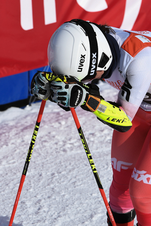 KILLINGTON, VT - NOVEMBER 24: Maryna Gasienica-Daniel of Poland in the finish area after the second run of the giant slalom at the Audi FIS Ski World Cup - Killington Cup on November 24, 2018 in Killington, Vermont.