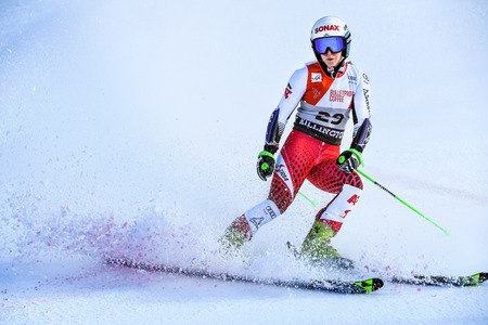 KILLINGTON, VT - NOVEMBER 24: Eva-Maria Brem of Austria in the finish area after the second run of the giant slalom at the Audi FIS Ski World Cup - Killington Cup on November 24, 2018 in Killington, Vermont.
