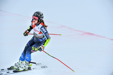 KILLINGTON, VERMONT - NOVEMBER 24: Sara Hector of Sweden competes in the first run of the Giant Slalom at the Audi FIS Ski World Cup on November 24, 2018 in Killington, Vermont. Editoriali