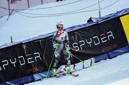 KILLINGTON, VT - NOVEMBER 24: Mina Fuerst Holtmann of Norway  in the finish area after the first run of the giant slalom at the Audi FIS Ski World Cup - Killington Cup on November 24, 2018 in Killington, Vermont.