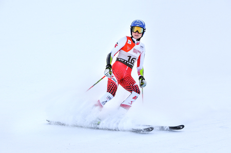 KILLINGTON, VERMONT - NOVEMBER 24: Bernadette Schild of Austria competes in the first run of the Giant Slalom at the Audi FIS Ski World Cup on November 24, 2018 in Killington, Vermont. Redakční
