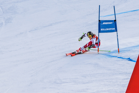 KILLINGTON, VT - NOVEMBER 24: Stephanie Resch of Austria in the finish area after the second run of the giant slalom at the Audi FIS Ski World Cup - Killington Cup on November 24, 2018 in Killington, Vermont. Redakční