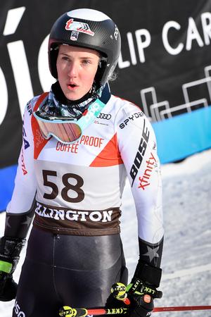 KILLINGTON, VT - NOVEMBER 24: Nina O Brien of USA  in the finish area after the second run of the giant slalom at the Audi FIS Ski World Cup - Killington Cup on November 24, 2018 in Killington, Vermont. Editorial