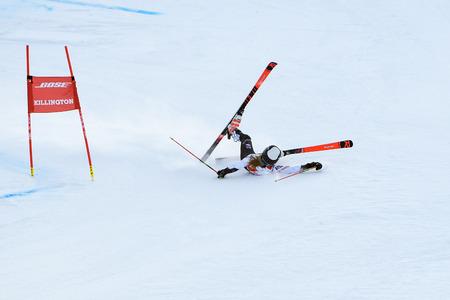 KILLINGTON, VT - NOVEMBER 24: Nina O Brien of USA crush in the finish area after the second run of the giant slalom at the Audi FIS Ski World Cup - Killington Cup on November 24, 2018 in Killington, Vermont.