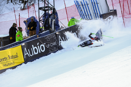 KILLINGTON, VT - NOVEMBER 24: Mina Fuerst Holtmann of Norway crash in the finish area after the first run of the giant slalom at the Audi FIS Ski World Cup - Killington Cup on November 24, 2018 in Killington, Vermont. Editorial