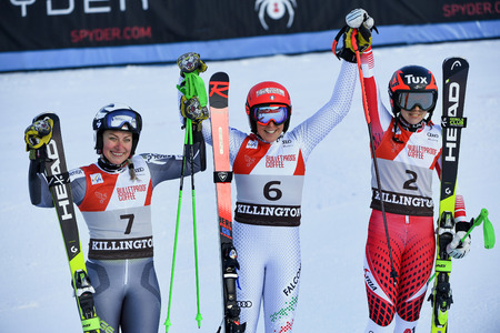 KILLINGTON, USA - NOVEMBER 24: Ragnhild Mowinckel of Norway takes 2nd place, Federica Brignone of Italy takes 1st place, Stephanie Brunner of Austria takes 3rd place during the Audi FIS Alpine Ski World Cup Womens Giant Slalom on November 24, 2018 in Kil