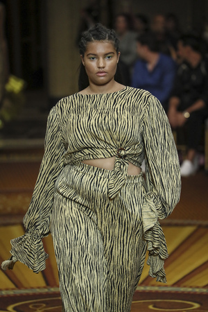 NEW YORK, NY - SEPTEMBER 08: A model walks the runway at Christian Siriano - Runway during New York Fashion Week: The Shows on September 8, 2018 in New York City.