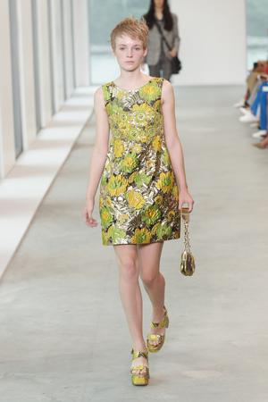 NEW YORK, NY - SEPTEMBER 12: A model walks the runway wearing Michael Kors Spring 2019 on September 12, 2018 in New York City.
