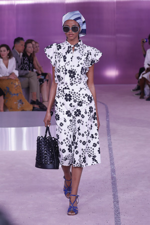 NEW YORK, NY - SEPTEMBER 07: A model walks runway for Kate Spade New York during New York Fashion Week at New York Public Library on September 7, 2018 in New York City. Editorial