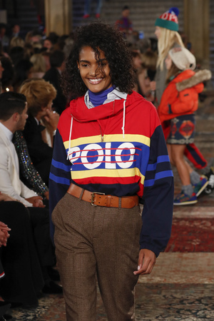 NEW YORK, NY - SEPTEMBER 07: A model walks the runway for Ralph Lauren fashion show during New York Fashion Week at Bethesda Terrace on September 7, 2018 in New York City.