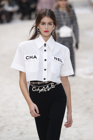 PARIS, FRANCE - OCTOBER 02: Kaia Gerber walks the runway during the Chanel show as part of the Paris Fashion Week Womenswear Spring/Summer 2019 on October 2, 2018 in Paris, France.