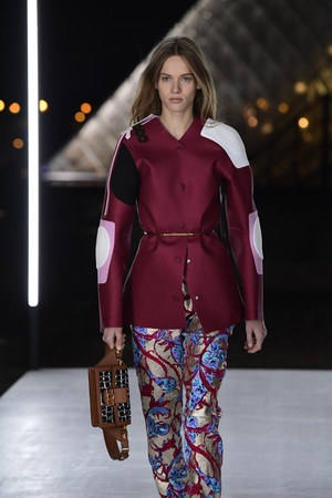 PARIS, FRANCE - OCTOBER 02: A model walks the runway during the Louis Vuitton show as part of the Paris Fashion Week Womenswear SpringSummer 2019 on October 2, 2018 in Paris, France.