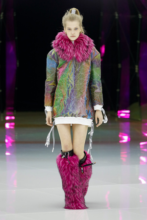 MILAN, ITALY - FEBRUARY 20: A model walks the runway at the Byblos show at Milan Fashion Week AutumnWinter 201920 on February 20, 2019 in Milan, Italy.