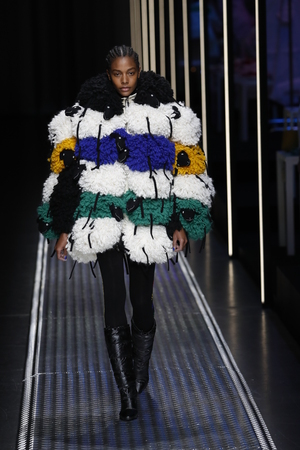 MILAN, ITALY - FEBRUARY 19: A model walks the runway at the United Colors Of Benetton show at Milan Fashion Week Autumn/Winter 2019/20 on February 19, 2019 in Milan, Italy.