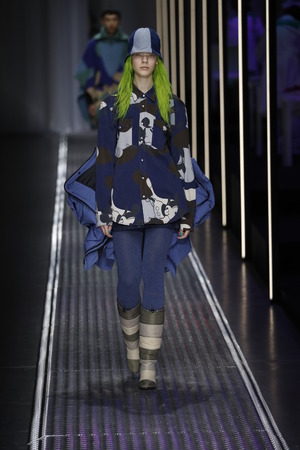 MILAN, ITALY - FEBRUARY 19: A model walks the runway at the United Colors Of Benetton show at Milan Fashion Week AutumnWinter 201920 on February 19, 2019 in Milan, Italy.