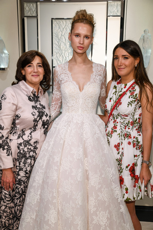 NEW YORK, NY - APRIL 10:  Gracy Accad (R), Milena Garbo (C) and Gracy Acads mother posing for camera during Spring 2020 bridal presentation at Blumingdales store on April 10, 2019 in NYC.