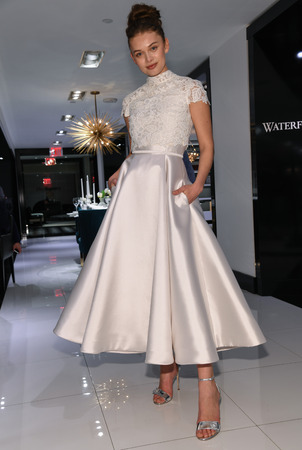 NEW YORK, NY - APRIL 10: Model Katya Kulyzhka presenting bridal gown during the Gracy Accad Spring 2020 bridal presentation at Blumingdales NY on April 10, 2019 in NYC. Sajtókép
