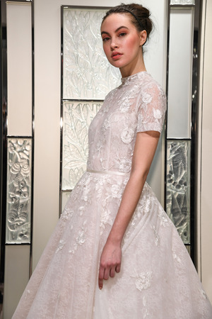 NEW YORK, NY - APRIL 10: Model Heather Aboff posing during the Gracy Accad Spring 2020 bridal presentation at New York Fashion Week: Bridal on April 10, 2019 in NYC.