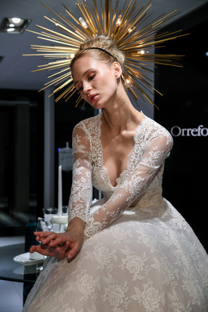 NEW YORK, NY - APRIL 10: Model Milena Garbo presenting bridal gown during the Gracy Accad Spring 2020 bridal presentation at Blumingdales store on April 10, 2019 in NYC. Redactioneel