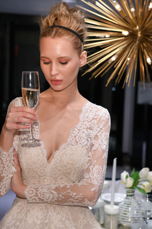NEW YORK, NY - APRIL 10: Model Milena Garbo presenting bridal gown during the Gracy Accad Spring 2020 bridal presentation at Blumingdales NY on April 10, 2019 in NYC.